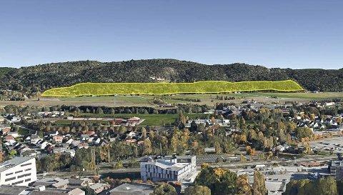 DETTE LA DE FRAM: Her er den opprinnelige skissen kommunen la fram for boligbygging i Valleråsen. Nå står striden om to mulige store boligfelt, et med innkjøring fra Enger, og et fra Hovenga.