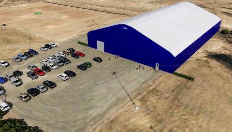 Fotballhall: Slik kan den nye forballhalle til Heradsbygda IL bli seende ut. Hallen får en hallflate tilsvarende en sjuerbane, trolig med mål på 64x40 meter. Høyden blir 13 meter