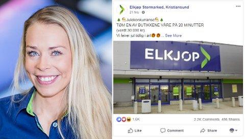 Facebook-siden som bruker navnet og bildet til Elkjøp Kristiansund er falsk. Kommunikasjonssjef Madeleine Schøyen Bergly i Elkjøp Norge sier det er frustrerende, men er glad folk holder øynene åpne og varsler om sidene.