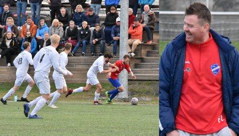 Blaker-trener Fredrik Larsen var svært fornøyd med spillerne sine i oppgjøret mot Aurskog-Høland. Og særlig Mattias «Svensken» Karlsson, her i duell med Eirik Vedahl Haugen.