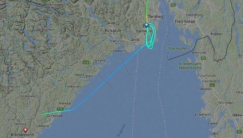 OMDIRIGERT: Flyet fra Trondheim til Torp ble omdirigert til Kristiansand.