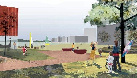 KAMFJORDPARKEN: Slik tenker konsulentene seg at en bydelspark innerst i Kamfjordkilen kan se ut. (Illustrasjon: Civitas og Dyrvik Arkitekter)