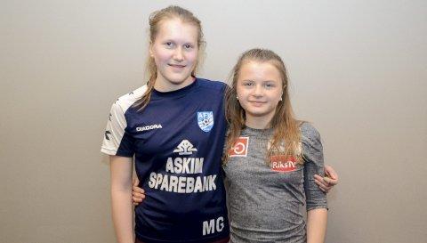 DIGGER Hoppsporten: Mariell Gjendal (14) og Josefine Løken (13) synes det beste med hopp er spenningen man får i kroppen av å være i lufta.