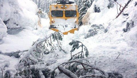 Bratsbergbanen etter tungt snøfall