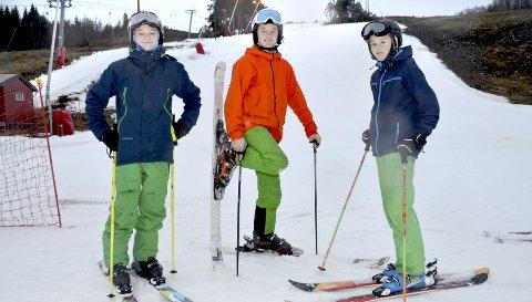 FORNØYDE: Martinus Kvendset, Sindre Humberset og Halvor Fjærvik er blant de mange som bruker alpinbakken i Surnadal jevnlig. Nå håper de det kommer natursnø.