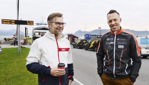 Befaring: Harald Fladseth (til venstre) i Norway Events hadde mandag besøk av Anders Aukland fra Team Ragde Eiendom. Neste år kan langløp bli en del av Toppidrettsveka. Tidens Krav møtte duoen på Seivika før de dro på befaring i Aure og Hitra.