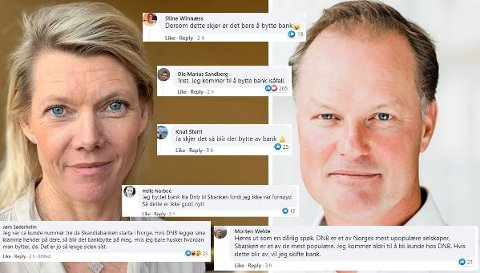 KUNDERASERI: DNB-sjef Kjerstin Braathen og SBanken-sjef Øyvind Thomassen annonserte torsdag at et oppkjøp kan være på vei. Reaksjonene haglet på Facebook, og mange varsler bankbytte.