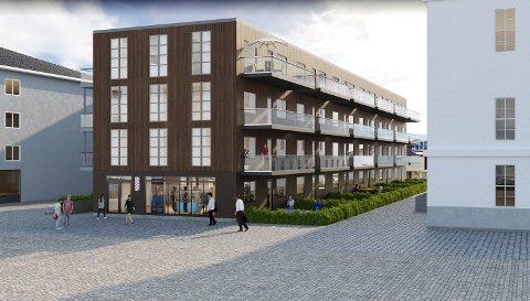 Skisseprosjekt for nye omsorgsboliger på skoleplana i Kristiansund sentrum.