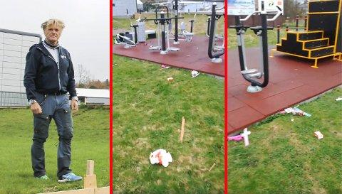 REAGERTE: Søpla fløt i treningsparken. Det liker Maks Jensen dårlig.