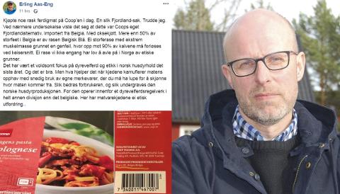 KRITISK: Styremedlem i Norges bondelag, Erling Aas-Eng, retter sin misnøye mot Coop og matvarekjedens bruk av egne merkevarer i et Facebook-innlegg.