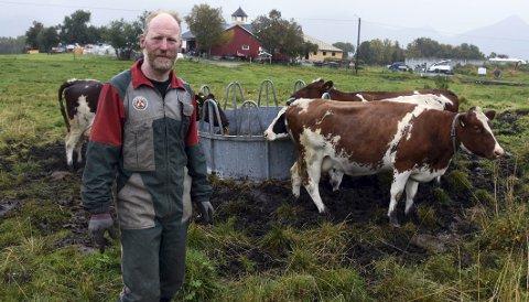 Melk: Det er først og fremst melkeproduksjon Nils Barsch satser på. I dag har han plass til 18 melkekyr, etter utbyggingen minst 25. Han roser Innovasjon Norge som har støttet utbyggingen med 762.500 kroner, og den lokale banken for å ha bidratt med lån. Foto: Øyvind A. Olsen