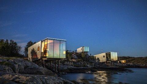 Oppkalt: Dette er de tre nyeste hyttene på Manshausen. De har fått navnene Frans Josef Land, Grønland og Patagonia. Ikke helt overraskende er alle navnene hentet fra steder der Børge Ousland har vært på ekspedisjoner. Foto: Kjell Ove Storvik