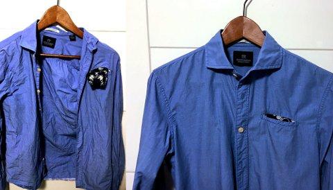 Stor forskjell: Denne skjorta er laget av tynn bomull som krøller lett. Til venstre er den vasket med full sentrifugering. Til høyre med færre omdreininger og tørket på kleshenger.