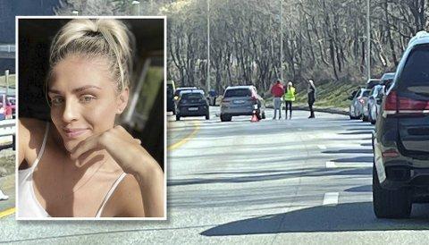 Cara Natalie Davies (25) var i bilen som kom først til ulykkesstedet. Her er hun iført gul vest på skadestedet.