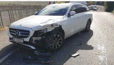 SKADER: Slik så bilen til kvinnen ut etter sammenstøtet i Åslyveien.