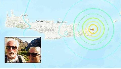NÆR SKJELVET: Bjørn Firing og kona Anne Kathe Firing (innfelt) oppholdt seg kun fem mil unna jordskjelvets episenter som ifølge USGS ligger helt øst på øya Kreta.