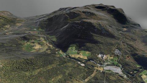 HALVGJERDA: Dette fjellet blir gjennombora med totalt sju kilometer tunnel. Utbygginga av Jølstra kraft gir elektrisk straum til 10.000 husstandar.