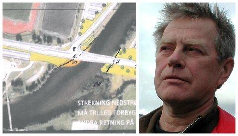 NYTT INNSPEL: Helge Leif Nordvik hart teikna eit framlegg til løysing for kryss og bru over Jølstra ved Førdehuset.