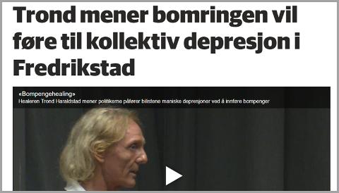Saken Arnfinn Eide kritiserer hadde også video med opptak av innslaget der Haraldstad forklarer sammenhengen mellom bompenger og destruktiv energi. (Videoen kan ikke startes fra dette bildet, se video nede i saken.)