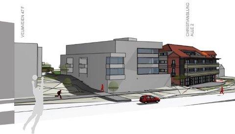 Skisse av den fremtidige boligblokken som er planlagt satt opp ved siden av Geas-bygget (til høyre) ved Christianslundkrysset. Bilveien som sees foran bygget, er Veumveien.