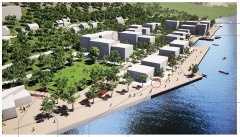 STORE PLANER:  Denne skissen for en ny bydel ved tidligere Kiærs Bruk viser en tilpasning med lave bygninger mot elven, og høyere bygg i bakkant. Illustrasjon: Link Arkitektur