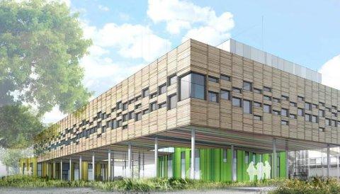 Dette er bygget som foreslås som ny Råkollen skole på toppen av dagens Gudeberg skole.