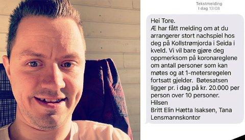 OVERRASKET: Tore Larsen fikk en overraskelse da politiet advarte han om å begrense nachspielet sitt.