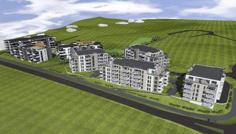 DROGNESJORDET: Her skal Marbre Eiendom bygge rundt 200 leiligheter. (Illustrasjon: Romerike Arkitekter)