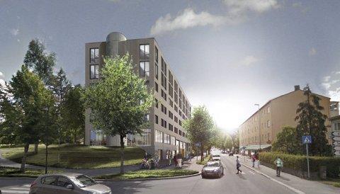 HØYERE: Tegningene av det planlagte sentrumshotellet kan gi inntrykk av at det ikke blir så mye høyere enn KOBBL-bygget på andre siden av gata. Faktum er imidlertid at det vil bli dobbelt så høyt.TEGNING: LINK ARKITEKTUR
