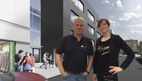 BYLEILIGHET: Boligdelen av Hauge-kvartalet skal bestå av 33 mindre leiligheter på 35 kvadratmeter. – Vi tror mange ønsker seg en sentral og moderne leilighet. Ikke minst tror vi at mange vil se det som en god investering, sier daglig leder Jonny Eriksen i KB Gruppen Eiendom og eiendomsmekler Amelia Åsengen i Eie Eiendomsmegling. FOTO/MONTASJE: KB Gruppen Eiendom AS
