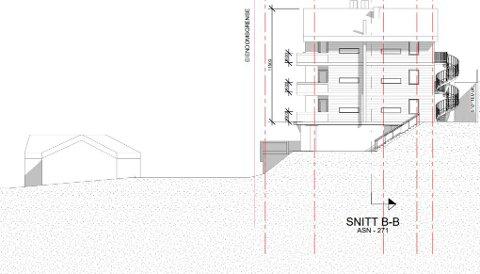 Slik ser Larkas Arkitekter for seg leilighetsbygget i Bustulvegen i Kvitfjell. Tegningen viser fasaden mot øst. Naboene i sør reagerer på høyden.
