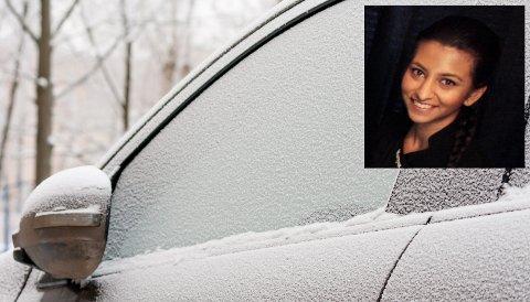 FROST: Tirsdag våknet Hadeland opp til kuldegrader og mange måtte skrape vinduene på bilen. Maryam Yusuf ser fram til at snøen kommer og lysner opp landskapet.