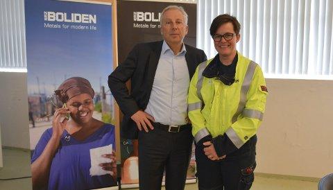 Konsernsjef: President og CEO i Boliden Group Lennart Evrell saman med administrerande direktør i Boliden Odda Helene Seim.