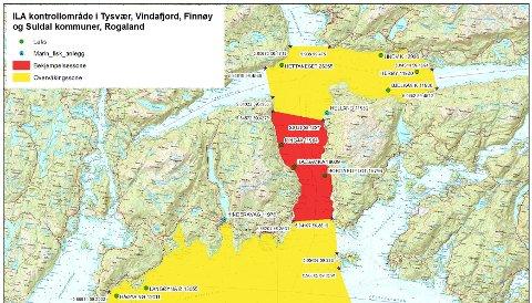 Kontrollområde for ILA i i Tysvær, Vindafjord, Finnøy og Suldal kommuner.