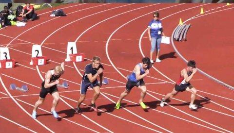 RASK START: Som vanlig var Erik Tanawat Mikkeljord (t.h.), Hattfjelldal raskest i starten. Han ble nummer to i sitt heat, men tida var for dårlig til å nå finalen som går lørdag. Sondre Faugstad Amundsen i banen utenfor Erik vant heatet på 10.84. Foto: Skjermdump