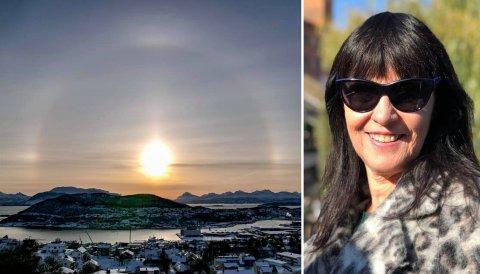 Haloen rundt sola er ikke noe du ser hver dag i Harstad. Fra Åsen borettslag i Harstad så Kirsti Hundstad det flotte synet.