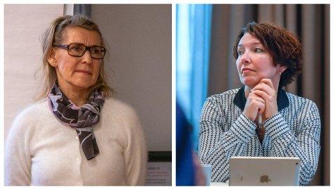 UNØDVENDIG: Styremedlem Eva Monica Hestvik (til høyre) ville ha svar fra sykehusdirektør Hulda Gunnlaugsdottir (til venstre) på hvorfor fødeavdelingene i Sandnessjøen og Mo i Rana holder stengt i fire uker hver i sommermånedene.