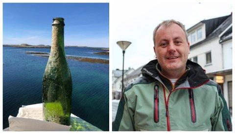 LANGVEISFRA: Roger Bastesen fant denne flaskeposten fra Karibien. Flasken har ligget i havet i nesten fem år, før den til slutt havnet på et skjær utenfor i Skibbåtsvær.