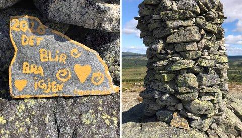 HYGGELIG STEIN: Her er den hyggelige steinen som Linnea (11) la igjen på toppen av Såtenatten.