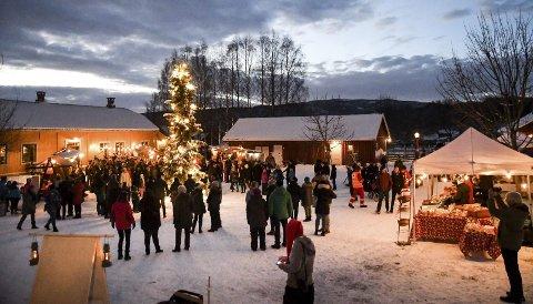 SÅ VAR DET JUL: Etter at ordfører Gunn Cecilie Ringdal hadde stått for tenningen av juletrebelysningen, var det klart for årets første gang rundt treet. FOTO: MARIE GRENSBRÅTEN LORVIK