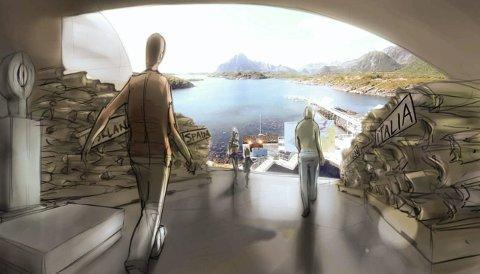 Skrei - lofotfiskets kulturarvsenter: Slik er det kommende senteret illustrert i visjonen «Lofotfisket - havet, torsken og mennesket».