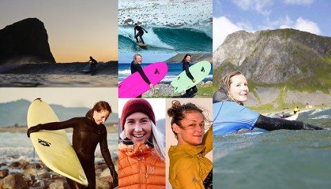 SURFEJENTER I midten Hæge Forfang (t.v.) og Ingrid Velken Kverneland. Nederst f.v. Kristin Klaveness, Ida Lien Vindvik, Ingrid Renli og Anette Fjeld.