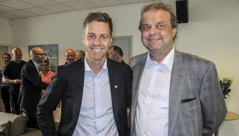 TIL MOSS: Knut Arild Hareide kommer til Moss når partiet i hele fylket skal diskutere hvem de bør samarbeide med nasjonalt. Her er Hariede sammen med KrFs Halvard Sand.