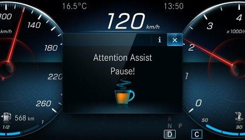NYTTIG: Den svenske studien tyder på at førerstøttesystemene bør inkludere tretthetsvarsel med varsellyd og symbol - slik som dette, hos Mercedes-Benz.