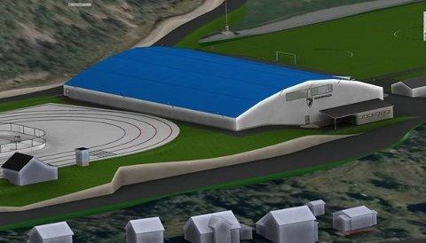 PLANEN: Slik er plantegningen for en ny treningshall for fotball på Skjervøy, mellom fotballbanen Lerøy Arena og skøyte- og ishockeybanen som flyttes litt sørover.