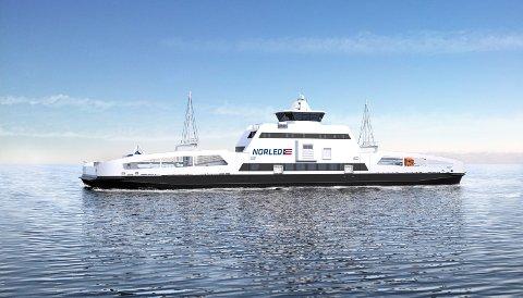 BATTERIDREVET: Fergen Ampere, som er drift på Vestlandet er ikke ulik den typen som vil bli satt i drift på Ullsfjord og Lyngen etter hvert. Illustrasjon: Norled