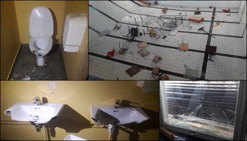 ØDELEGGELSER: Knust toalett, møbler i bassenget, knuste servanter og flere knuste vinduer var resultatet etter hærverket tidlig i november.