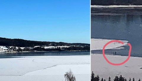 SER SKUMMELT UT: Dette ble observert på Bråstad lørdag, skriver leseren, som sendte oss bildet til høyre lørdag. To personer ser ut til å bevege seg på kanten av isen. Bildet til venstre ble tatt på Bråstad søndag.