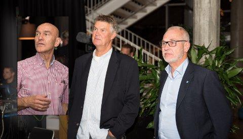 SPENNENDE: Vil disse tre voksne herrene finne sammen i de nærmeste dagene? Fra venstre Olav Nordheim (Sp), Erik Bringedal (H) og Rune Høiseth (Ap)