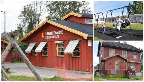 TØMMES: Eiendommene Ryli, Haugland og Sentralen skal ikke lenger brukes som barnehagelokaler i Løten.